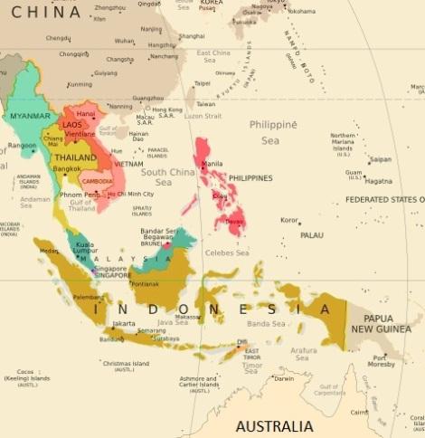 carte Asie du sud est